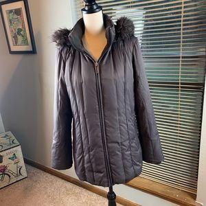 Liz Claiborne goose down faux fur hooded jacket
